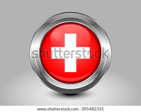 Flag of Switzerland. Metal Round Icons. This is File from the Collection European Flags - stock vector