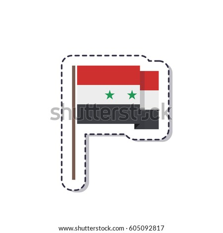 Flag of syria sticker isolated on white background vector illustration