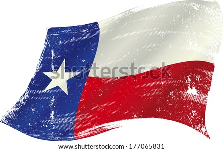 flag of  Texas in the wind with a texture - stock vector