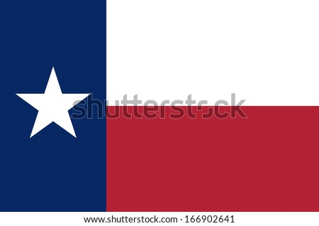 Flag of Texas (the Lone Star Flag). Vector. Accurate dimensions, element proportions and colors. - stock vector