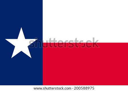 Flag of Texas. Vector illustration. The color and size of the original. - stock vector