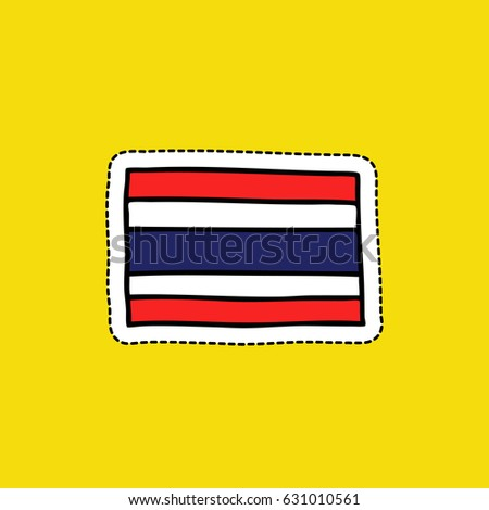 flag of Thailand doodle icon, sticker