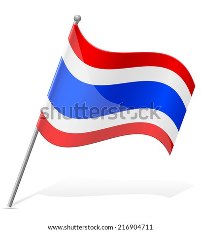 flag of Thailand vector illustration isolated on white background - stock vector