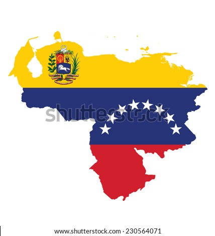 Flag of the Bolivarian Republic of Venezuela overlaid on detailed outline map isolated on white background  - stock vector