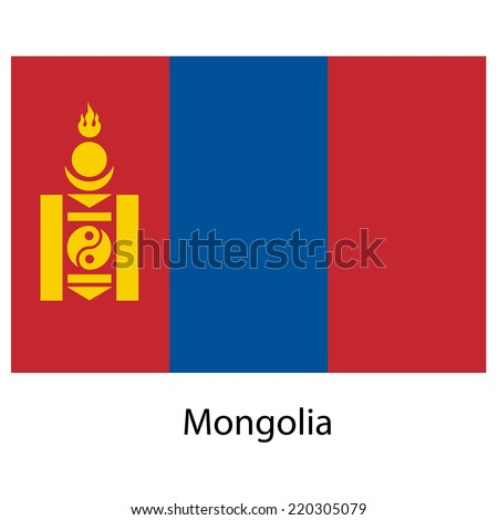 Flag  of the country  mongolia. Vector illustration.  Exact colors.  - stock vector