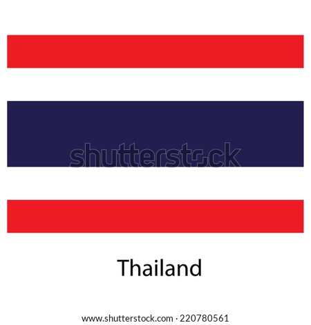 Flag  of the country  thailand. Vector illustration.  Exact colors.  - stock vector