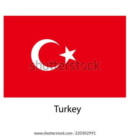 Flag  of the country  turkey. Vector illustration.  Exact colors.  - stock vector