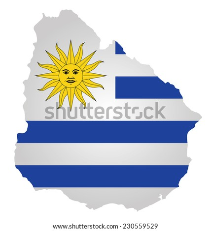 Flag of the Eastern Republic of Uruguay overlaid on detailed outline map isolated on white background  - stock vector