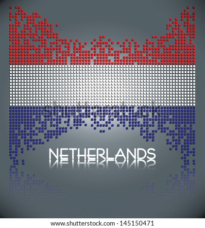 Flag of the Netherlands made out of vector square blocks, eps10