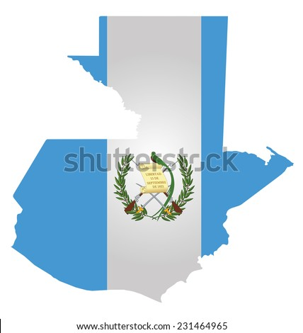Flag of the Republic of Guatemala overlaid on outline map isolated on white background  - stock vector