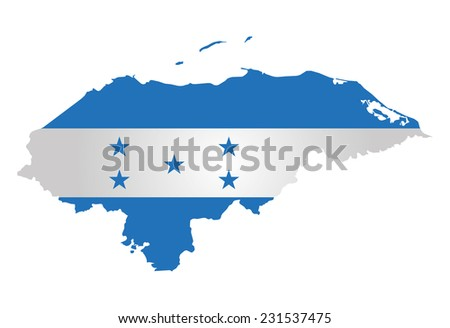 Flag of the Republic of Honduras overlaid on outline map isolated on white background  - stock vector