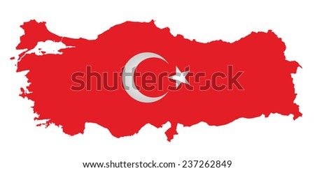 Flag of the Republic of Turkey overlaid on outline map isolated on white background  - stock vector