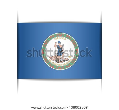 Flag of the state of Virginia. Vector illustration of a stylized flag. The slit in the paper with shadows. Element for infographics. - stock vector