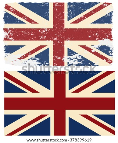 Flag of the UK in retro style. Vector  design element. - stock vector