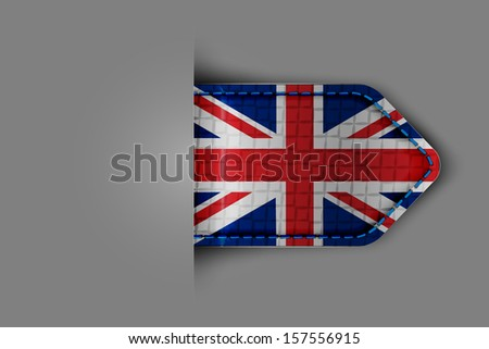 Flag of the United Kingdom of Great Britain in the form of a glossy textured label or bookmark. Vector illustration. - stock vector