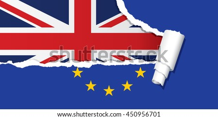 Flag of the United Kingdom under ripped flag of the European Union, Brexit, vector illustration. - stock vector