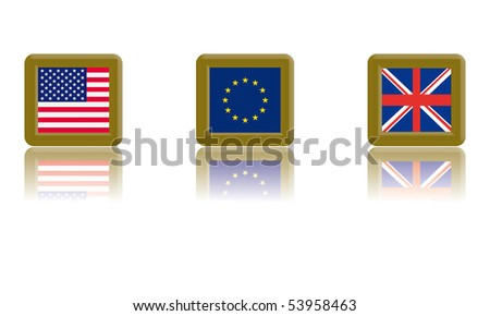 Flag of the United States, European Union and the United Kingdom with gold frame and reflection - stock vector