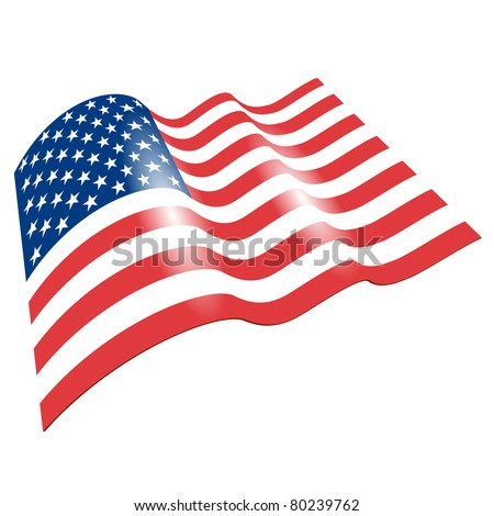 Flag of the United States, fluttered in the wind. (Vector image) - stock vector