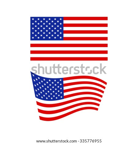 Flag of the United States of America in flat and waving shape - vector illustration - stock vector