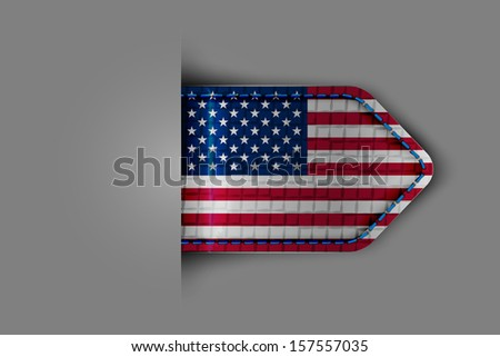 Flag of the United States of America in the form of a glossy textured label or bookmark. Vector illustration. - stock vector