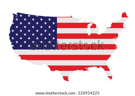 Flag of the United States of America overlaid on detailed outline map isolated on white background  - stock vector