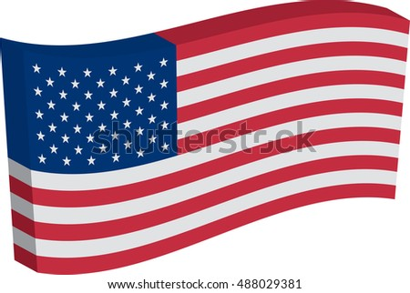 Flag of the United States of America (USA). Vector illustration of a stylized flag. Axonometry and volume. Element for infographics.