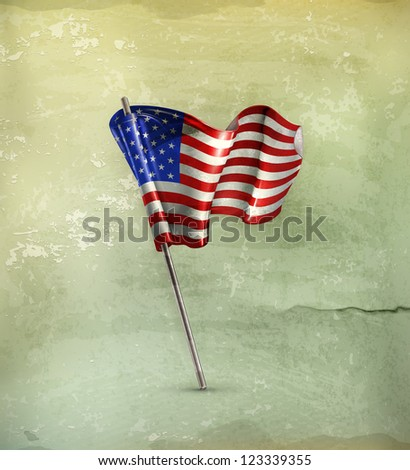 Flag of the United States, old-style vector - stock vector