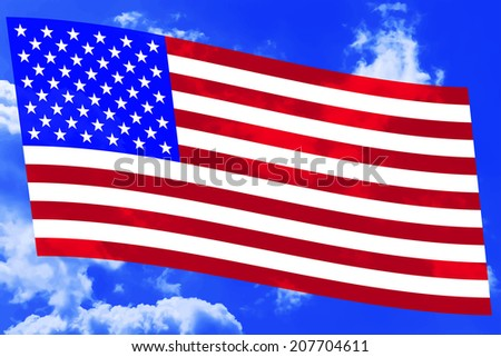 Flag of the United States on the blue sky background - stock vector