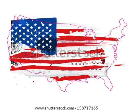 Flag of the USA. Grunge background.