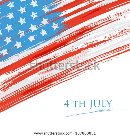 Flag of the USA (United States of America). Grunge background - stock vector