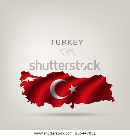Flag of Turkey as a country with a shadow - stock vector