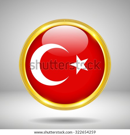 Flag of Turkey in GOLD - stock vector
