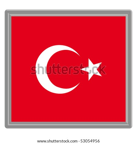 Flag of Turkey with silver frame - stock vector