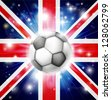 Flag of UK soccer background with pyrotechnic or light burst and soccer football ball in the centre  - stock vector