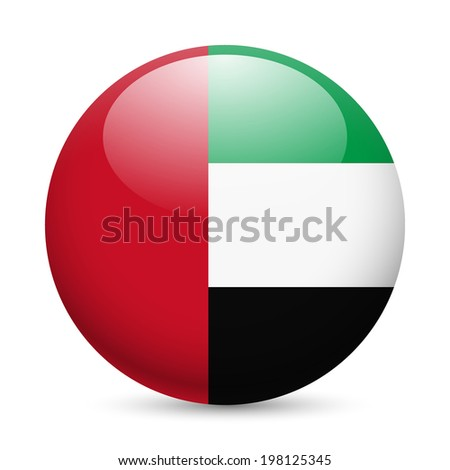 Flag of United Arab Emirates as round glossy icon. Button with flag design - stock vector