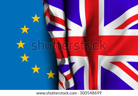 Flag of United Kingdom over the flag of the European Union Vector illustration - stock vector