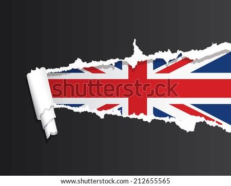 Flag of United Kingdom under ripped paper vector illustration. - stock vector