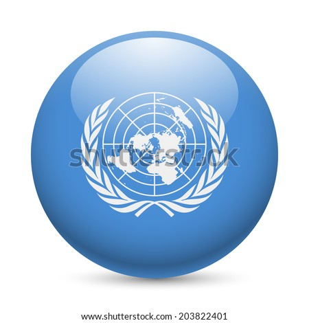 Flag of United Nations as round glossy icon. Button with flag design - stock vector