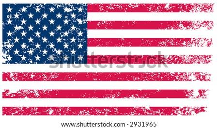 Flag of United States - grunge background(vector, illustration) - stock vector