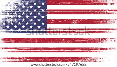 Flag Of United States Of America. Old dyed distressed texture of national symbol.  EPS10 vector.