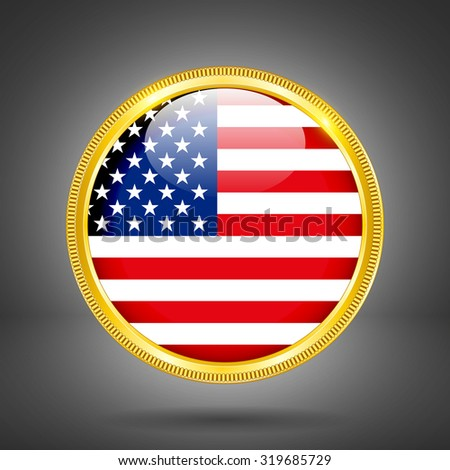 Flag of USA in gold frame - stock vector