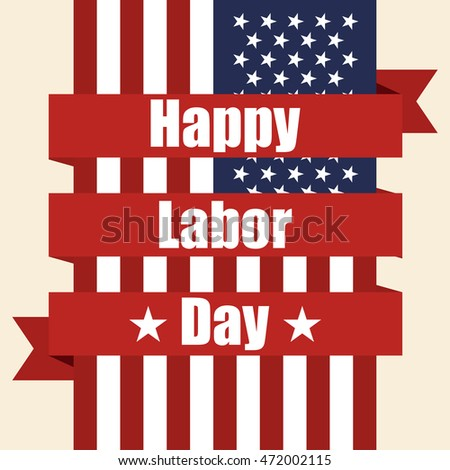 Flag of USA to labor day with ribbon. Vector illustration