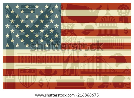 Flag of USA with traditional symbols of architecture and culture of the USA - stock vector