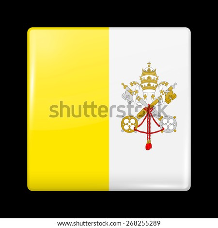 Flag of Vatican City. Glossy Icons Square Shape. This is File from the Collection European Flags - stock vector
