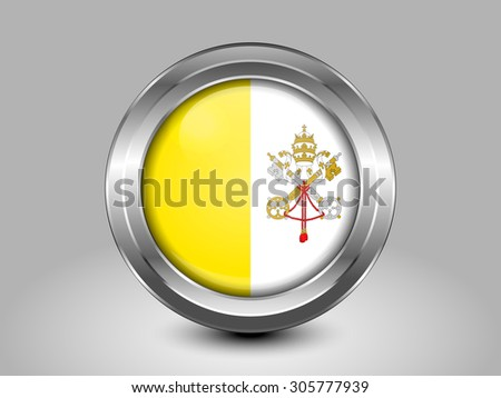 Flag of Vatican City. Metal Round Icons. This is File from the Collection European Flags - stock vector