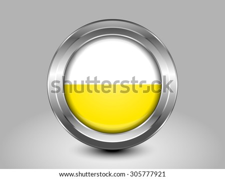 Flag of Vatican City with Horizontal Stripes. Metal Round Icons. This is File from the Collection European Flags - stock vector