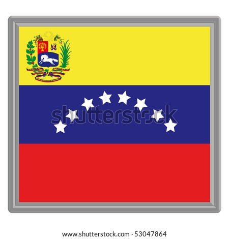 Flag of Venezuela with a silver frame - stock vector
