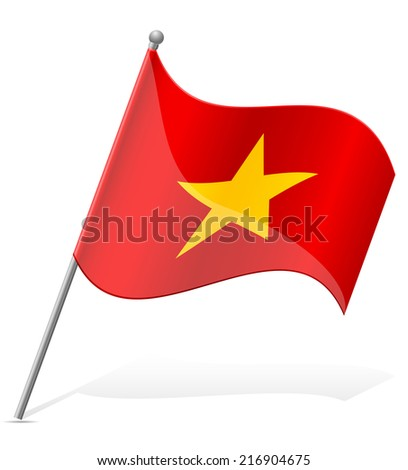 flag of Vietnam vector illustration isolated on white background - stock vector
