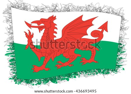 Flag of Wales (country that is part of the United Kingdom). Vector illustration of a stylized flag. Shaggy edge. - stock vector