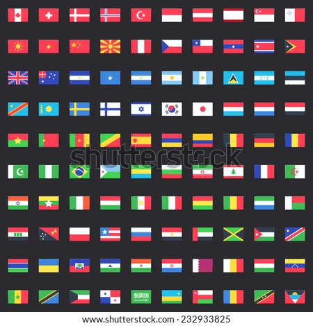 Flag of world. Vector icons - stock vector